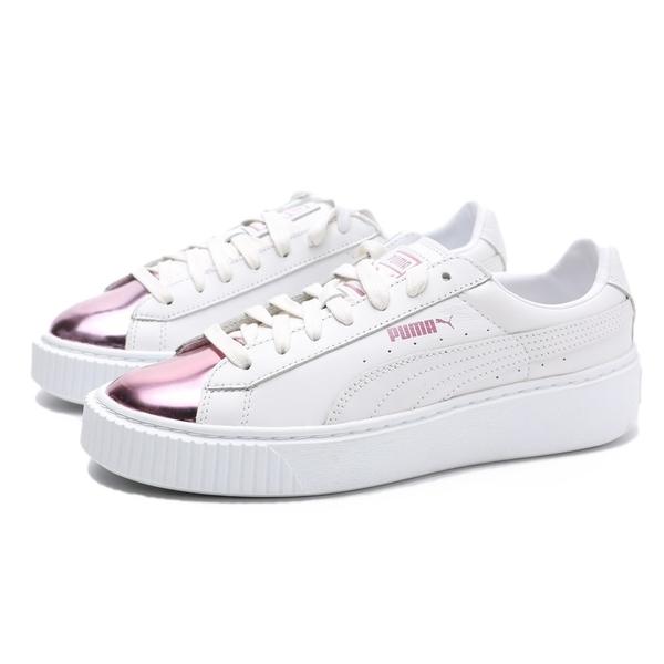 PUMA 休閒鞋 BASKET PLATFORM 蕾哈娜 白 皮革 粉金 厚底 增高 女 (布魯克林) 36616904