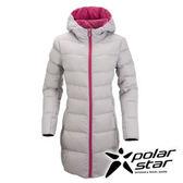 PolarStar 女 長版超輕連帽羽絨外套 『淺灰』 P15238