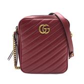 【台中米蘭站】全新品 GUCCI GG Marmont 仿舊金雙G牛皮斜背包(550155-紅)