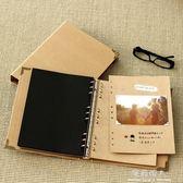 9孔空白活頁本子 DIY粘貼式同學錄牛皮紙筆記本復古手工相冊影集 完美情人精品館