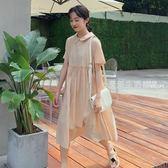 短袖洋裝 夏季女裝韓版中長款學院風純色寬鬆娃娃領蓬鬆短袖洋裝顯瘦長裙·夏茉生活
