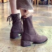 鞋子女新款女鞋瘦瘦靴短靴女粗跟女靴高跟鞋圓頭側拉鍊騎士靴    原本良品