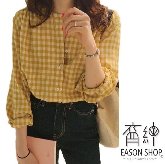 EASON SHOP(GW5290)韓版復古撞色格紋薄款長版圓領泡泡袖長袖襯衫格子女上衣服落肩顯瘦閨蜜裝黃色