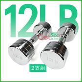 電鍍啞鈴12磅(菱格紋槓心)(2支)(12LB/重量訓練/肌肉/二頭肌/胸肌/舉重)