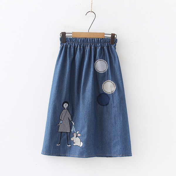 *ORead*貼布圈圈女孩刺繡鬆緊腰牛仔半身裙(2色F碼)