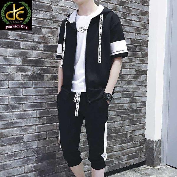 韓版潮流緞帶款套裝(加大尺碼)連帽上衣+送褲子 黑《P5105》