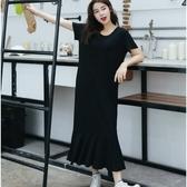 NiCELIFE 韓系洋裝 【D4711】 純色 短袖 魚尾 長裙 長洋裝 魚尾裙 荷葉洋裝