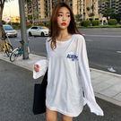 Qmigirl BF風寬鬆韓版上衣 圓領長袖字母T恤【T707】