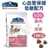 *WANG*【全省免運】倍力BLUEBAY《心血管保健低敏配方-S30雞肉+燕麥》18KG 犬飼料