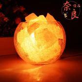 水晶鹽燈喜馬拉雅歐式裝飾小臺燈臥室溫馨床頭夜燈【奈良優品】