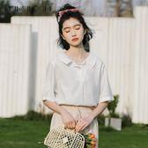 短袖襯衫 雪紡白色襯衫女夏裝短袖韓版寬鬆學生很仙的上衣服洋氣 【韓國時尚週】