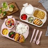 小麥秸稈兒童餐盤防摔幼兒園寶寶餐盤防摔家用分格盤套裝卡通飯盤
