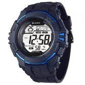 M1029-E 捷卡JAGA 多功能大視窗 冷光照明 電子錶 男錶 運動錶 軍錶 學生錶 藍色 防水手錶