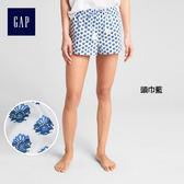 Gap女裝 印花刺繡中腰抽繩短褲 314626-頭巾藍