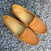全真皮經典款素面豆豆鞋 焦糖棕色 親子鞋 媽媽鞋 鞋墊加厚 超軟 LaoMeDea