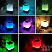 創意USB充電藍牙音響LED臺燈學生宿舍床頭小夜燈兒童鬧鐘音樂禮物 京都3C
