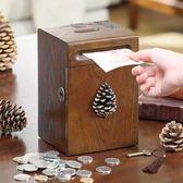 美式創意實木硬幣存錢筒紙幣存錢罐