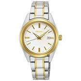 【台南 時代鐘錶 SEIKO】精工 SUR636P1 日期顯示 鋼錶帶女錶 30mm 銀/金 6N22-00K0GS