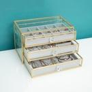 歐式抽屜式飾品收納首飾盒玻璃耳環耳釘戒指項錬珠寶收納盒防塵 小時光生活館