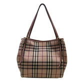 BURBERRY 巴寶莉 粉色經典格紋托特包 Canter Horseferry Check Tote Bag【BRAND OFF】