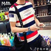 夏季韓版條紋短袖t恤男士修身半袖上衣服青少年學生體恤時尚潮流   伊鞋本鋪