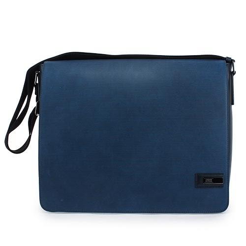 ARMANI COLLEZIONI 經典橫紋牛革掀蓋式斜背包(藍色)102308-1