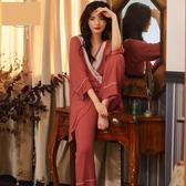 睡衣女春秋性感長袖莫代爾中長款日式和服套裝寬鬆休閒家居服春季新品