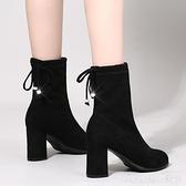 中筒彈力靴粗跟百搭女短靴韓版高跟馬丁靴瘦瘦靴春秋單靴 聖誕節鉅惠