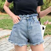 85折高腰寬鬆百搭毛邊闊腿褲牛仔褲短褲學生顯瘦開學季