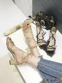 綁帶高跟 綁帶粗跟涼鞋系帶羅馬女鞋