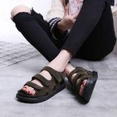 韓國厚底沙灘魔術貼平底羅馬百搭涼鞋女