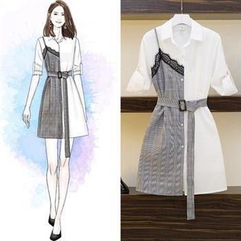 特賣款不退換中大尺碼L-4XL洋裝中長款襯衫34075格子蕾絲拼結2019網紅收腹襯衣