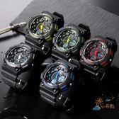 個性時尚雙顯電子手錶男多功能運動手錶深度防水游泳腕錶夜光WY