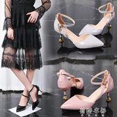 新款尖頭高跟鞋細跟包頭中跟女鞋黑色單鞋一字扣帶涼鞋   蓓娜衣都