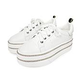 MICHELLE PARK 收藏 ‧ 綁帶雙排水鑽厚底休閒鞋-白
