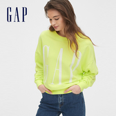 Gap女裝 Logo基本款圓領休閒上衣 544856-活力螢光綠