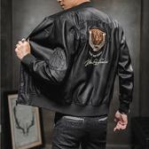 【美國熊】騎士風格 刺繡徽章 保暖內加細絨 俐落剪裁 顯瘦立領皮衣夾克 重機裝 [TIGR-11]