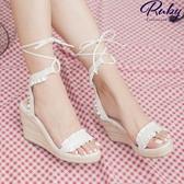 鞋子 荷葉繞踝綁帶楔形涼鞋-Ruby s 露比午茶