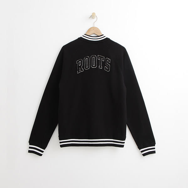Roots - 男裝 - ROOTS 左胸字母棒球外套 - 黑色