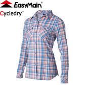 【EasyMain 衣力美 女款 彈性快乾防曬格子衫《橘》】SE17078/排汗快乾/輕量/機能透氣★滿額送