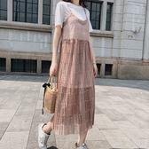 短袖洋裝 蕾絲 鏤空 吊帶裙 短袖 長版T恤 兩件套 連身裙