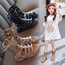 女童涼鞋 女童涼鞋新款時尚中大童涼靴兒童夏季小童女孩軟底高筒羅馬鞋 【母親節特惠】