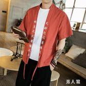 中大尺碼 夏季開衫中國風復古文字刺繡道袍棉麻半袖薄款上衣潮 zm2991『男人範』