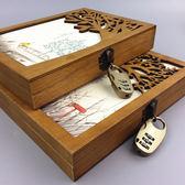 帶鎖密碼本木盒筆記本精裝筆記本手賬本禮盒彩頁記事本◤麻吉部落◢ 免運交換禮物