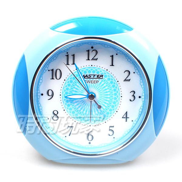 MASTER 台灣製造 半圓 精美鬧鐘 連續秒針 超靜音 貪睡 燈光 JM-4960藍