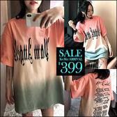 克妹Ke-Mei【ZT46232】歐美! 外貿單潮感暗黑漸層字母雙面印寬T洋裝