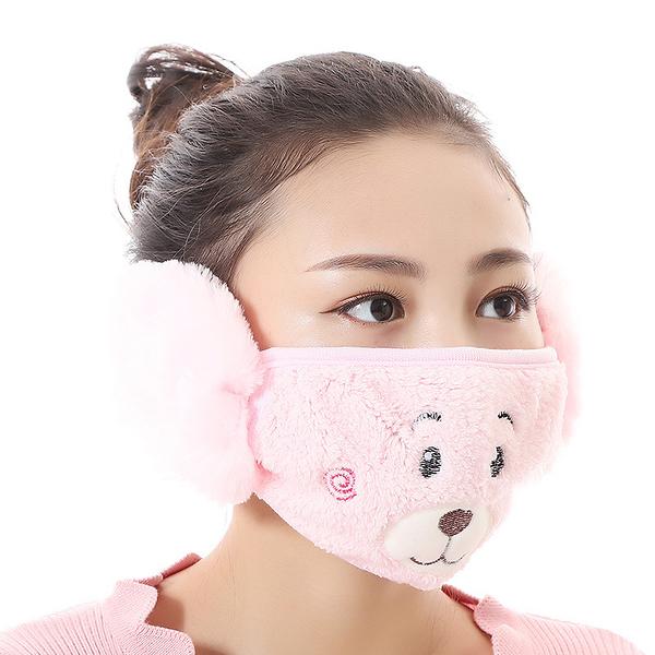 【獨愛3C用品】【買三送一】冬季必備保暖卡通造型小熊絨毛防塵口罩耳罩二合一(編號4/粉色)