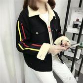 刷毛外套 加絨牛仔女冬季韓版學生寬鬆開衫短款羊羔毛保暖加厚刺繡外套 DJ2978『易購3c館』