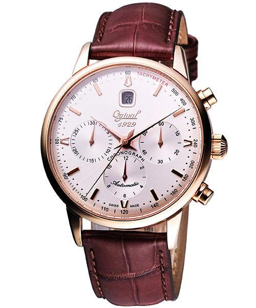 Ogival 愛其華 強者天下三眼計時機械腕錶-銀白 1929-25AGRP