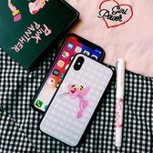 IPhone 8 Plus 全包鋼化玻璃背殼卡通手機殼粉紅豹TPU 邊框保護殼防摔手機套防